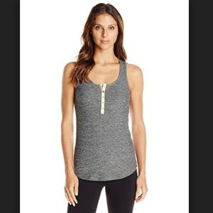 Oiselle Heather Gray Button Front Lux Henley Tank